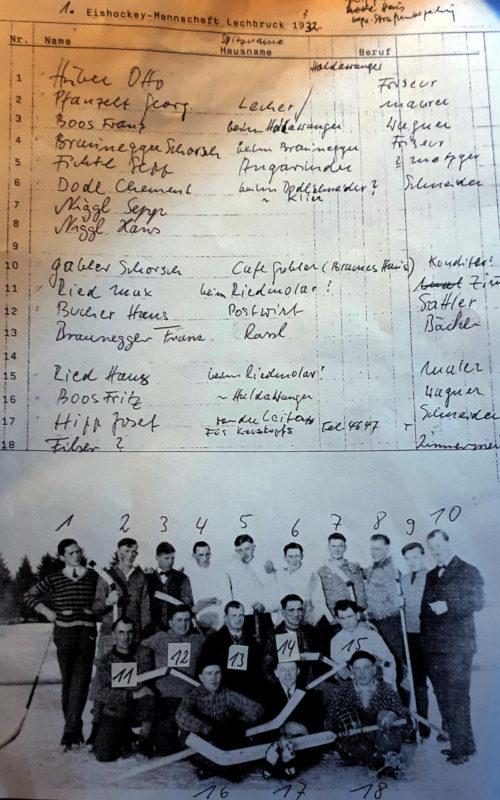 Erste Lecher Eishockeymannschaft 1932